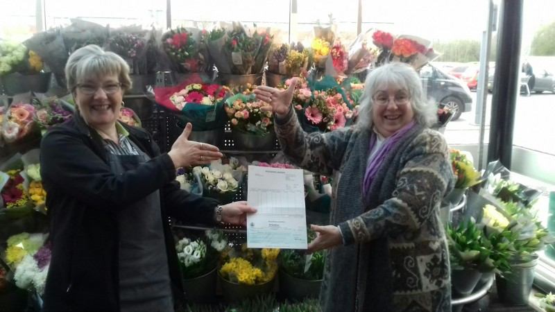 Georgette receives a cheque from Waitrose
